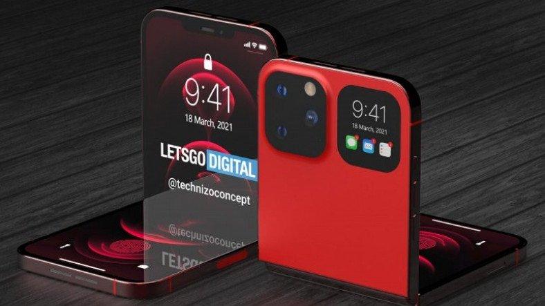 iPhone 12 ile Galaxy Z Flip'i Bir Araya Getiren Katlanabilir iPhone Konsepti